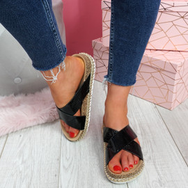 Sya Black Slip On Sandals