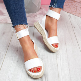 Foddy White Ankle Strap Platform Sandals