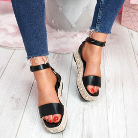Inny Black Pu Studded Platform Sandals