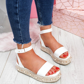 Inny White Pu Studded Platform Sandals