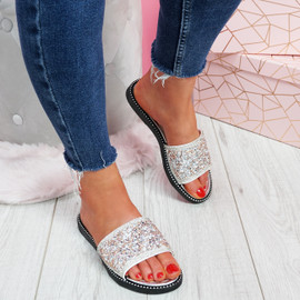 Henny Silver Diamante Studded Sandals