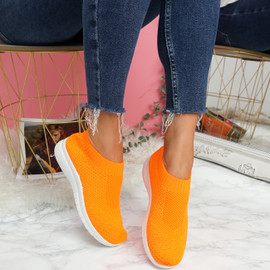 Dynna Orange Sock Cycling Sneakers