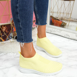 Dynna Yellow Sock Cycling Sneakers