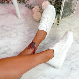Kawa White Lace Up Glitter Trainers