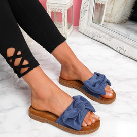 Onno Blue Bow Flat Sandals