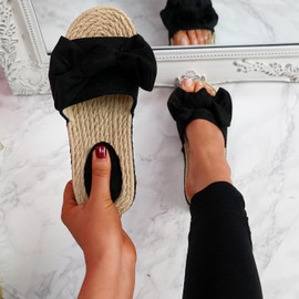 Laya Black Bow Platform Sandals