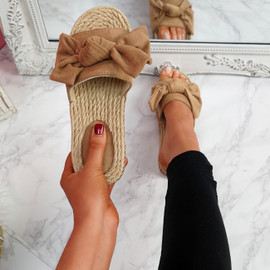 Laya Camel Bow Platform Sandals