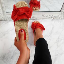 Laya Red Bow Platform Sandals