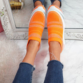 Enna Fluorescence Orange Studded Trainers