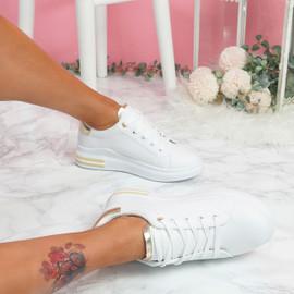Loffy White Gold Platform Trainers