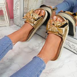 Linne Gold Glitter Flatform Sandals