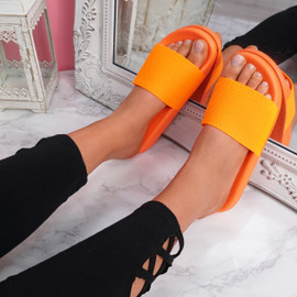 Senny Orange Knit Flat Sandals