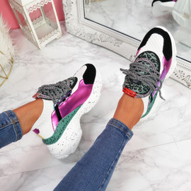 Lerry White Lace Up Chunky Sneakers