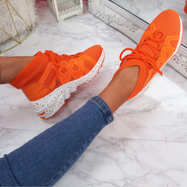Kezy Orange Lace Up Chunky Trainers