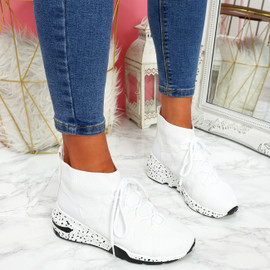 Kezy White Lace Up Chunky Trainers