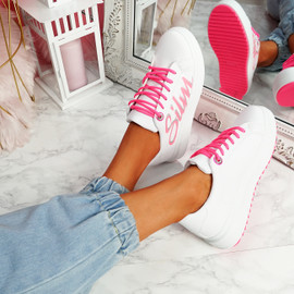 Slimme White Rose Platform Trainers