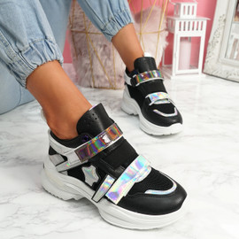 Kaya Black Chunky Sneakers