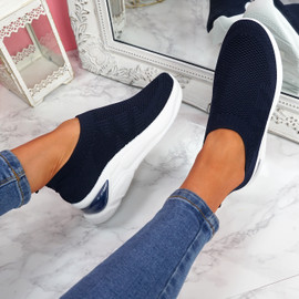 Piba Navy Knit Chunky Trainers