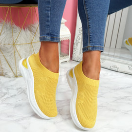 Piba Yellow Knit Chunky Trainers