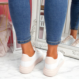 Olivia White Pink Platform Trainers
