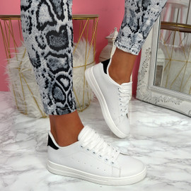 Nevy White Black Platform Trainers