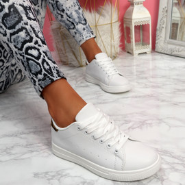 Nevy White Leopard Platform Trainers
