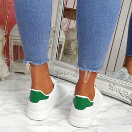 Nevy White Green Platform Trainers
