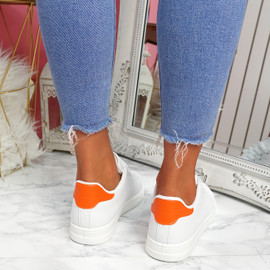 Nevy White Orange Platform Trainers