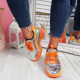 Lany Orange Chunky Trainers