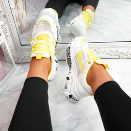Zeny White Yellow Chunky Sneakers