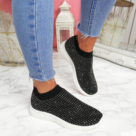 Kolly Black Studded Sock Sneakers
