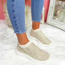 Kolly Beige Studded Sock Sneakers