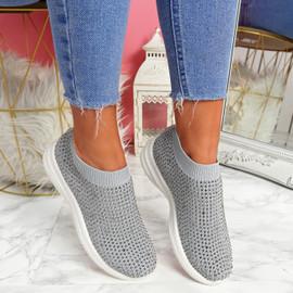 Kolly Grey Studded Sock Sneakers