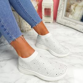 Kolly White Studded Sock Sneakers