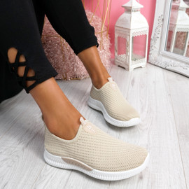 Derra Beige Slip On Sneakers