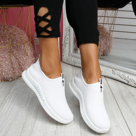 Derra White Slip On Sneakers