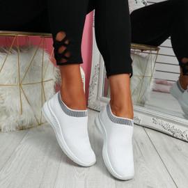Nurya Bleach White Knit Slip On Trainers