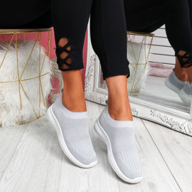 Nurya Light Grey Knit Slip On Trainers