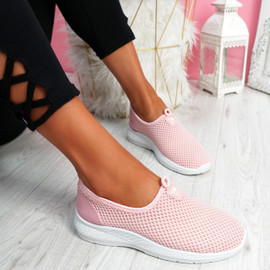 Onno Pink Slip On Running Sneakers