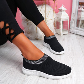 Nurya Black Knit Slip On Trainers