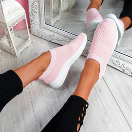 Nurya Pink Knit Slip On Trainers