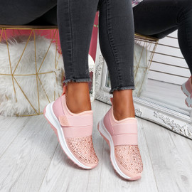 Zenna Pink Studded Trainers
