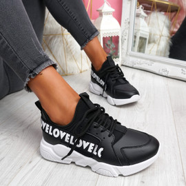 Loppe Black Lace Up Chunky Trainers