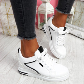 Fabba White Black Lace Up Trainers