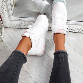 Fabba White Pink Lace Up Trainers