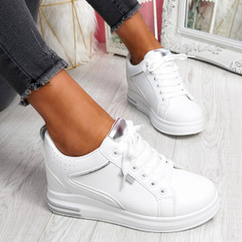 Fabba White Silver Lace Up Trainers