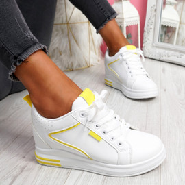 Fabba White Yellow Lace Up Trainers