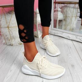 Lammy Beige Mesh Sneakers