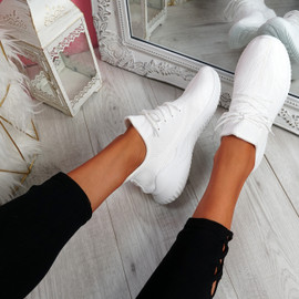 Lammy White Mesh Sneakers