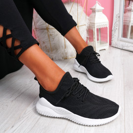 Lammy Black Mesh Sneakers